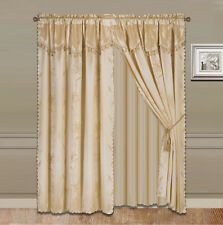 4PC NADA GOLD ROD POCKET FAUX SILK PANEL SHEER VALANCE TASSEL WINDOW CURTAIN