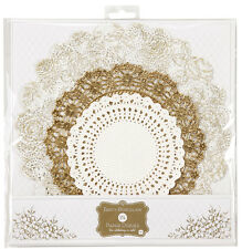 24 x Gold & White Paper Doilies - golden Wedding 50th Anniversary Tea Party