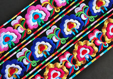 New fancy chinese tribal miao machine embroidered colorful flower fabric belt