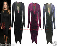 Womens Ladies Velvet VELOUR Plunge Neck Ruched Midi Bodycon Party Evening Dress