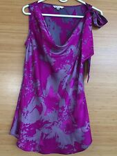 CAbi #102 'Fit to Be Tied' Silk Blouse. Fall 2012. Size M. Brilliant Magenta