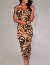 Hot Party Women New Leopard Print Evening Summer Bodycon Cocktail Midi Dress