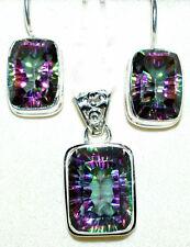 Sterling Silver SET Mystic Quartz Pendant drop Earrings; 925 Multi Fire Gemstone