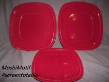 Home Trends Canopy Cranberry Red Square - 2 Dinner Plates and 1 Salad Plate