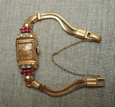 Vintage Ladies' Retro 14K Gold Ruby & Diamond Cocktail Wristwatch on GF Band