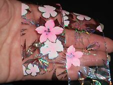 UK 2016 1M PINK FLOWER NAIL ART TRANSFER FOILS MANICURE WRAPS STICKERS POLISH