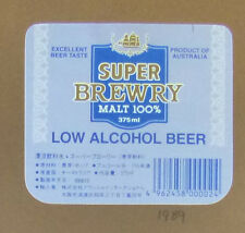 VINTAGE SOUTH AUSTRALIAN BEER LABEL - LOW ALCOHOL SUPER BREWERY