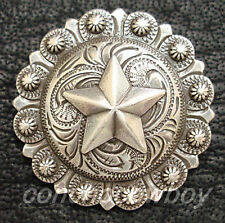 "WESTERN HEADSTALL SADDLE ANTIQUE SILVER STAR BERRY CONCHO 1-3/4"" screw back"