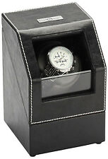 Diplomat Single 1 Watch Winder - Black Leather - Battery or A/C - Gray Interior
