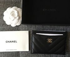 CHANEL Leather Card Case Cardholder Black NWB