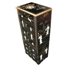 BLACK LACQUER MOTHER OF PEARL JEWELLERY ARMOIRE