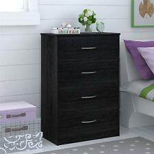Mainstays Bedroom Storage Dresser Chest 4 Drawer Modern Wood Furniture Black