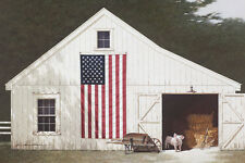 USA AMERICAN FLAG ART PRINT - Barn with Piglet by Zhen-Huan Lu Pig Poster 13x19