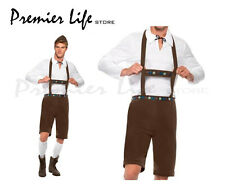 Uomo Bavarese Costume Lederhosen SHORTS CON BRETELLE TOP E CAPPELLO (medio, Marrone)
