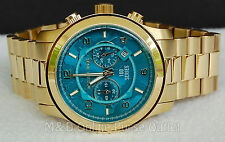 NIB Michael Kors Watch Hunger Stop Gold Tone & Turquoise Oversized Dial MK8315