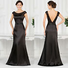 Sexy Black Long Satin Formal Ball Gown Maxi Party Bridesmaid Prom Evening Dress