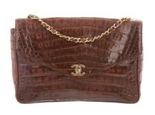 Authentic Vintage CHANEL Brown Crocodile Jumbo Classic 'CC' Bag