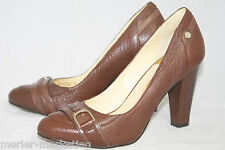 COLE HAAN D29943 Women's 6B Brown Grain Leather Stacked High Heel Pumps