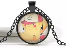 Pokemon Pikachu With Hat Cabochon Necklace Pendant Chain Black US Seller