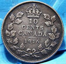 Canada 10 Cents 1916 George V, Extra Fine, Nice Original Sterling Silver Coin!