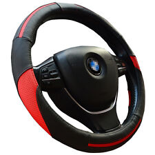 Black Synthetic Leather Steering Wheel Cover 38cm with Red Stripe for Auto Grip