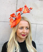 Black Orange Orchid Flower Fascinator Hat Statement Headpiece Races Clip 2292