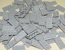 LEGO LOT OF 100 NEW 2 X 4 LIGHT BLUISH GREY PLATES TOWN CITY BUILDING BLOCKS