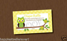 50 Yellow Green Damask OWL Diaper Raffle Tickets baby shower game lottery