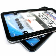 2 Black Metal License Plate Tag Frames +Clear Protector+Screw Caps for Car-Truck