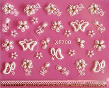 BIANCO Pizzo Fiori Farfalle 3D Nail Art Adesivi Decalcomania UV acrilico decorazione