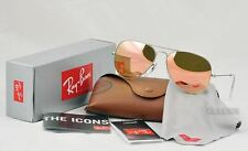 Ray-Ban 3025 RB3025 019/Z2 Matte Silver Frame Aviator Pink/Brown mirror 58mm