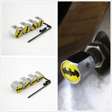 4 X Auto Wheel Tire Valve Stem Batman Emblem Anti-theft Chrome Metal Cap Covers
