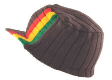 Rasta Visor Beanie Cap Stripe Jamaica Reggae Hat Brown Red Yellow Green