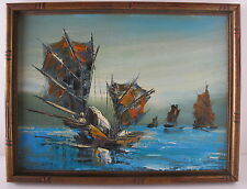 "Asian Oil on Canvas Framed Painting of Chinese Junk Boats Signed ""Wong"""