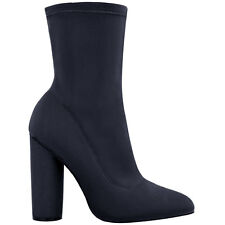 Ladies Block High Heels Stretchy Lycra Ankle Boots Wide Fit Celebrity Celeb Size