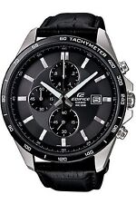 Casio Men's Edifice EFR512L-8AV Black Leather Quartz Watch with Black Dial