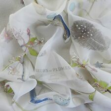 Feather Flowers HERMES Fleurs et Plumes CHIFFON SILK Muslin SCARF Leigh P Cooke