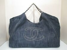 Authentic CHANEL Denim Navy Coco Cabas GM A35109 Tote Bag