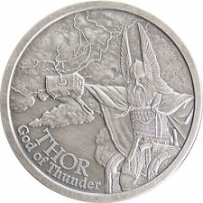 Norse Gods Series Thor - Valkyrie 5 oz .999 Silver Antiqued Finish Round US Coin