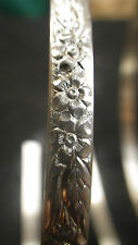 925 STERLING Silver Bezel Strip Wire FLORAL Pattern 1 Inch 100% Recycled Bangle