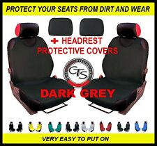 CAR FRONT SEAT COVERS PAIR + HEADREST DARK GREY DAIHATSU CHARADE APPLAUSE FEROZA