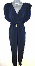 Stunning H&M Jumpsuit Navy Blue Elasticated Waist Evening Occasion 8