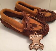 Children's Laurentian Chief Moccasins NWT Size 6 Brown Suede Leather