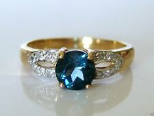 Beautiful 9ct Gold Blue Topaz & Diamond Ring Size N