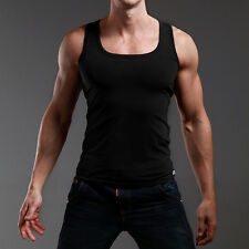 Classic Mens Black T-shirt Vest Cotton Tank Tops Gym Sports Sleeveless Tee Shirt