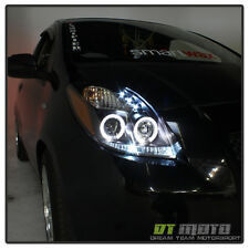 Black 2006-2008 Toyota Yaris Hatchback LED Halo Projector Headlights Left+Right