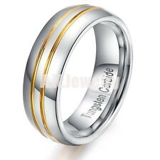 Tungsten Carbide Mens Double Gold Stripe Wedding Band Comfort Fit Ring Size 11