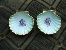 VINTAGE PAIR OF SPRAY GILDED SHELL PIN DISHES BEST CHINA 2561/4 GREEN LUSTRE