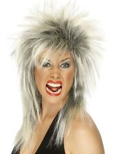 Womens Ladies  80s BLONDE & BLACK ROCK DIVA LONG MULLET PUNK TINA TURNER WIG