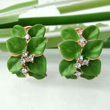 Navachi Green Enamel Leaves 18K GP Crystal Buckle Omega Earrings BH2864